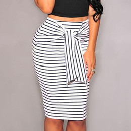 Wholesale Zipper Pencil Skirt - Fashion Women Skirt Black White Striped Bow-Tie Zipper Knee-Length Pencil Skirts Sexy Slim OL Skirts S-4XL