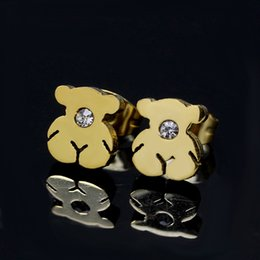 Wholesale Silver Panda Wholesale - wholesale Female Popular stainless steel titanium crystal stud earrings jewelry never fade cute panda Mujer pendientes oso