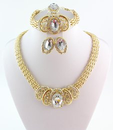 Wholesale Costume Rhinestone Necklace - New Arrival Gold Plated Wedding Jewelry Set Classic Rhinestone Necklace Set dubai african costume wedding