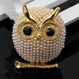 Wholesale Girls Owl Top - Top Grade Pins Brooches Hot Sale New Fashion Silver Pearl Owl Women Girl Wedding Brooch Pin Jewelry Wholesale Free Shipping - 0041DR