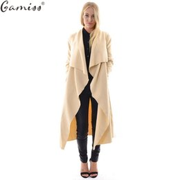 Wholesale Trench Femme - Wholesale- GAMISS autumn coat women casual loose wide lapel wool blend oversize coat trench long Outerwear loose clothing femme casaco