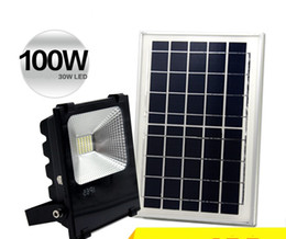 Wholesale Solar Led Lights China - Outdoor Solar LED Flood Lights 100W 50W 30W 70-85LM Lamps Waterproof IP65 Lighting Floodlight Battery Panel Power Remote Contorller China LF
