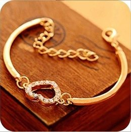 Wholesale Heart Shaped Bangle Bracelet - Charm Bracelets Women Fashion Gold Rhinestone Love Heart Bangle Cuff Bracelet Jewelry heart-shaped Love diamante Crystal bracelet Stylish