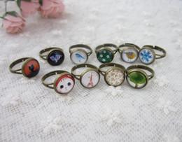 Wholesale Gemstone Cluster Rings Wholesale - Retro Cluster Rings Hot Sale DIY Jewelry Gemstone Charming Band Rings Adjustable Size Fashion Jewelrys Wholesale Free Shipping - 0009HM