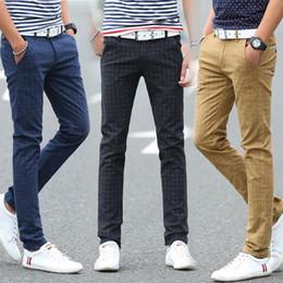 Vestito dal plaid ansima gli uomini online-All'ingrosso 2017 pantaloni casual plaid degli uomini più il formato 28-38 nuovi pantaloni di vestito da modo di modo pantaloni sottili per gli uomini