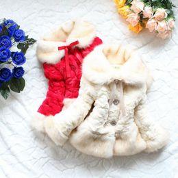 Wholesale Girls Fox Fur Coats - hot sale new Classic Cotton-padded Girls faux fox fur collar coat clothing Autumn Winter wear Clothes baby Children outerwear dress jacket