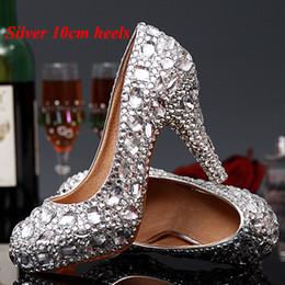 Wholesale Diamond Silver Heels For Wedding - Luxury Graduation Party Prom Shoes High Heel Silver Crystals Rhinestones Bridal wedding shoes Diamond Lady Shoes for Wedding Party