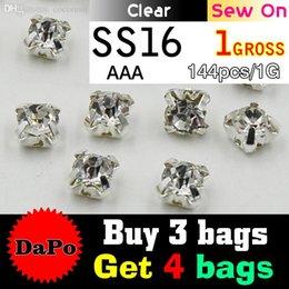 Wholesale Buy Dress Bags - Wholesale-Buy 3 Bags Get 4 Bags Free SS16 4mm 144pcs Silver Base Clear Sew On Rhinestones, Claw Rhinestones For Garment,DIY,Wedding Dress