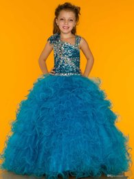 Wholesale Sugar Ball Gowns - Sparkling Sequins Bodice Little Girl Pageant Dresses Sugar Asymmetric Neckline Organza Piping Little Rosie Dresses 2014 New Fashion