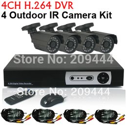 Wholesale Dvr 6mm - CCTV 4CH H.264 Full D1 realtime record Standalone Network DVR CMOS 6mm lens Outdoor IR Camera VIdeo System Kit DHL free shipping