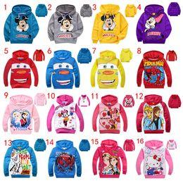 Wholesale Hooded Spiderman - 16 Designs kids cartoon jackets children's Hoodies Sweatshirts Mickey Minnie Frozen Spiderman Car KT baby casual clothing Hoodies Free DHL