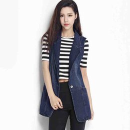 Wholesale jean jacket beads - 100% Cotton Denim Vest Women 2017 Spring Summer Sleeveless Jacket Coat Female Plus Size Slim Jean Veste Femme Waistcoat