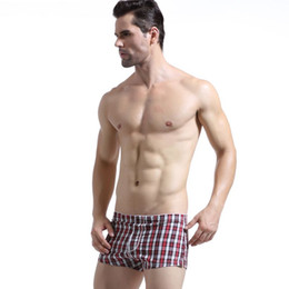Wholesale Skinny Sleepwear - Hot Selling Mens Casual Shorts Brand WJ Beach Sport Shorts Cotton Low Waist Sleepwear Home Shorts Grid Male Training Shorts