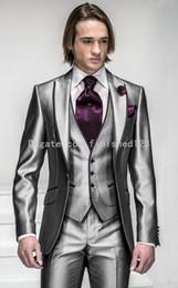 Wholesale Silver Shiny Suit - New Style One Button Shiny Silver Grey Groom Tuxedos Groomsmen Men's Wedding Suits Best man Suits (Jacket+Pants+Vest+Tie) BM:925
