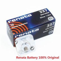 Wholesale Sr416sw 337 - Wholesale 100pcs lot Original Watch battery Renata 337 SR416SW 1.55v button battery watch battery free shipping