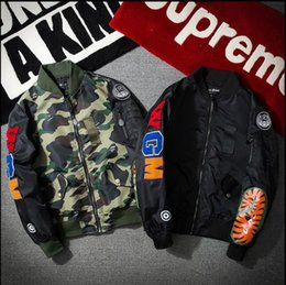 Wholesale Teenage Coats - 2018 New Spring Autumn Fashion Trend Street Wgm Yokosuka Embroidery Camouflage Shark Ma1 Teenage Air Force Jacket Outerwear Coat