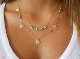 Wholesale turquoise necklace for wedding - Summer Style Statement Necklaces For Women Beads Coin Turquoise Boho Body Chain Steampunk Multi-layer Necklaces Chain Necklace