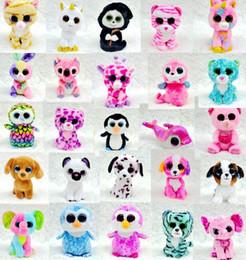 Wholesale Cute Animals Big Eyes - Ty Beanie Boos Plush Stuffed Toys Big Eye Cute Teddy Bear Rabbit Animals Soft Toys Colorful Children Small Animals Dolls Plush Gifts