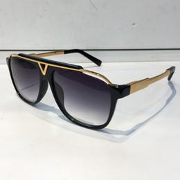 Wholesale Vintage Style Sunglasses Men - MASCOT Sunglasses Luxury Popular Retro Vintage Men Brand Designer Sunglasses Shiny Gold Summer Style Laser Logo Gold Plated With Case
