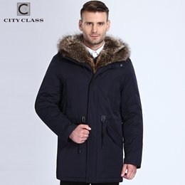 Wholesale men winter camel coat - Wholesale-City Class Winter Fur Jacket Men Removable Raccoon Hood Long Parka Mens Casual Jackets and Coats Cotton Fabric Camel Wool 17843