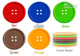 Wholesale Sweet Silicone Cup - Colourful SILICONE Button Design Cartoon Cup Mat Sweet Cup Insulating Pad Coaster