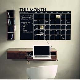 Wholesale Calendar Stickers - Hot sale 58*43cm 60*92cm 60*100cm PVC Monthly Planner Calendar Blackboard Wall Sticker Chalkboard Decal New fashion Stickers