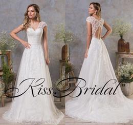 Wholesale Wedding Dress Back Hole - Modest Lace Wedding Dresses A Line Cap Sleeves Ivory Formal Bridal Gonws V Neck Key Hole Open Back Sweep Train Lace Dress For Wedding