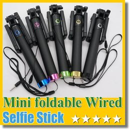 2015 Yeni Taşınabilir Katlanabilir Mini Kablolu Selfe Sopa Ses Kablosu Kutup El Self-Portrait Monopod Yok Bluetooth nereden iphone direksiyon simidi tedarikçiler