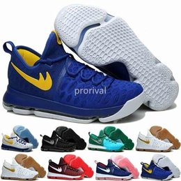 Wholesale Kd Boots - Kevin Durant KD 9 Mens Basketball Shoes,Cool Grey Warriors Away White Blue Gold Home Blue Yellow KD9 Athletic Boots Sport Sneakers Trainers
