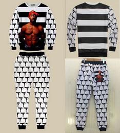 Wholesale 2pac Gun - w1216 2015 New hip hop 3d sweatshirt&joggers 3D sweat suits gun printed 2pac tupac suit set for men women Free shipping