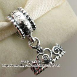 100% S925 стерлингового серебра моя принцесса тиара мотаться Шарм шарик с Cz подходит Европейский Pandora стиль ювелирные изделия браслеты ожерелья кулон от Поставщики браслеты тиары