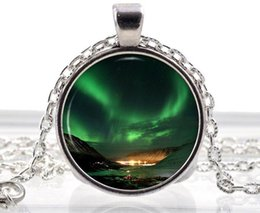Wholesale Emerald Green Glass - Space Aurora Borealis Necklace - Northern Lights Pendant - Emerald Green Gifts