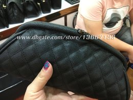 Wholesale quilted black purse - 2018 Women's Black Caviar Timeless Clutch 2018 Fashion Evening Bag Apricot Lambskin Quilted Clutches Female Handbag Purse