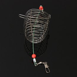Wholesale cage feeders - Small Bait Cage Fishing Trap Basket Feeder Holder Stainless Steel Wire Fishing Lure Cage Fish Bait Lure Fishing Accessories