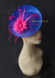 Wholesale Kentucky Derby Hats Royal Blue - Hot pink royal blue sinamay Fascinator feather fascinator for wedding,races,melbourne cup.