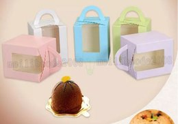 Wholesale Valentine Packages - New Open Window Cake Box Cupcake Container Valentine Chocolate Packing Wedding Baking Package Packing Paper Cake Boxes 9.5*9.5*12cm MYY
