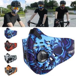 máscara de filtro para esportes Desconto Moda Ciclismo Poluição Do Ar Máscara Facial de Carvão Ativado Filtros de Máscara Esportes Poeira de Poliéster Máscara de Neoprene PM2.5 WX9-162