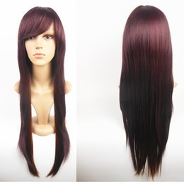 """Wholesale Long Anime Wigs - 80cm Long Straight Synthetic Wigs for Birthday Gift,32"""" Burgundy Natural Silky Straight Heat Resistent Hair Periwigs for Anime Costume Party"""