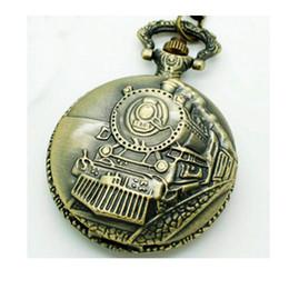Wholesale Antique Victorian Necklaces - (1004) 30pcs lot Big size Vintage Steampunk bronze train design Watch Necklace Victorian gothic Watch