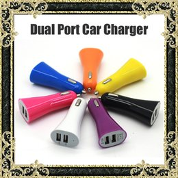 Wholesale Iphone5 Port - Dual Port Car Chargers Colorful 3.1A Dual USB Ports For iPad iphone5 iPhone 5 5S Samsung Galaxy s4 s5 Huawei Smart Phone