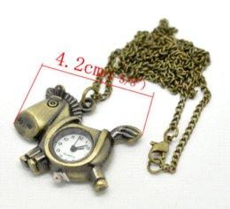 Wholesale Trojan Watches - 2015 Fashion 1 PC Bronze Tone Necklace Quartz Trojan Horse Pocket Watch 87cm Pocket & Fob Watches