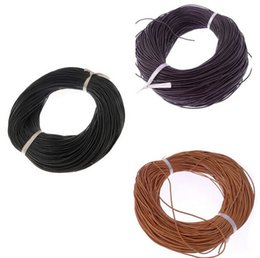 Wholesale 2mm Round Leather - 2mm Genuine Natural Leather Bead Round String Cord Real Leather Wire 100 Yards Multicolor DIY Jewelry Finding