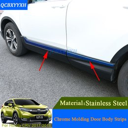 Wholesale Chrome Door Molding - QCBXYYXH Car Styling For Honda CRV CR-V 2017 2018 Car Chrome Molding Door Body Decoration Strips Stainless Steel Accessories