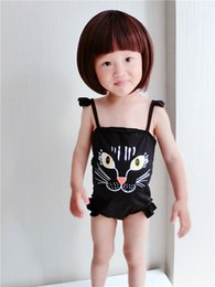 Wholesale Animal Print Girls Kids Swimsuit - kids cat swimsuit cute girls swimsuits Kids Black Bathing Suit Clothing Children Swimwear Summer printed one piece bathing suit in stock