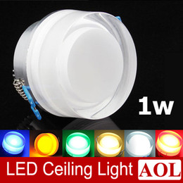 Wholesale Blue Porch - Colorful 1x1w LED acrylic crystal ceiling lamps 90lm aisle lights porch lamp wall lamp AC85-265V Round LED spotlight for house lighting