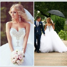 Wholesale wedding gowns size 18 - Designer Wedding Ball Gown Dress Beading Bling Train Country Wedding Dresses Sweetheart Tulle White Puffy Cheap Plus Size Wedding Dresses 18
