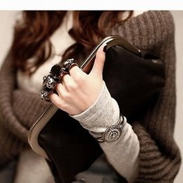 Wholesale Black Skull Purses - Fashion Skull Knuckle Rings Black Handbag Clutch Evening Bag Pu Leather Purse
