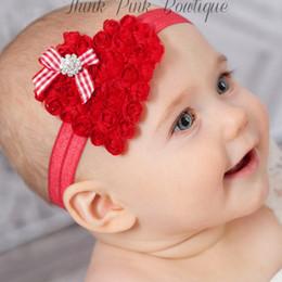 Wholesale Diamond Shaped Bow Tie - Christmas chiffon heart-shaped embroidery Baby Headband, baby diamond bow tie Headbands 008#