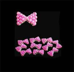 Wholesale Nail Pearls Tied - 2014 New Fashion 10x 3D Pearl Bow Tie Nail Art Glitters Multi Color DIY Decorations