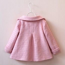 Wholesale Baby Girl Autumn Outwear - Wholesale-Girls Wool Winter Coats New Autumn Children's Cotton Trench Jackets Fashion Baby Girls Peter pan Collar Outwear QY-728